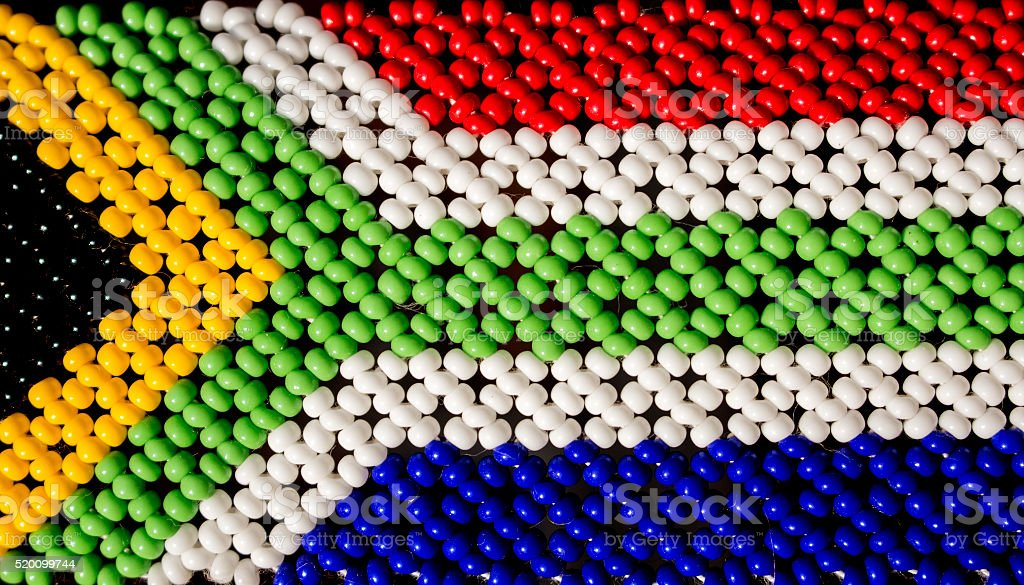South African flag made from beads. stock photo