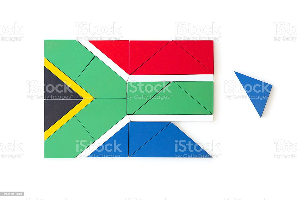 South African flag made from wooden puzzle pieces stock photo