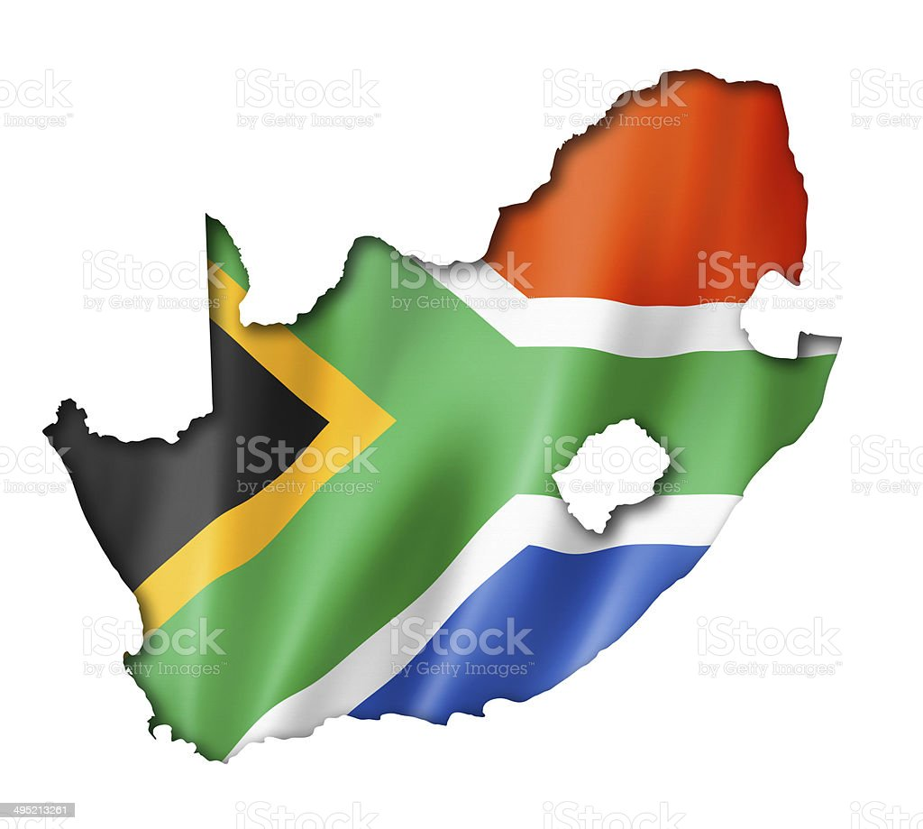 South African flag map stock photo
