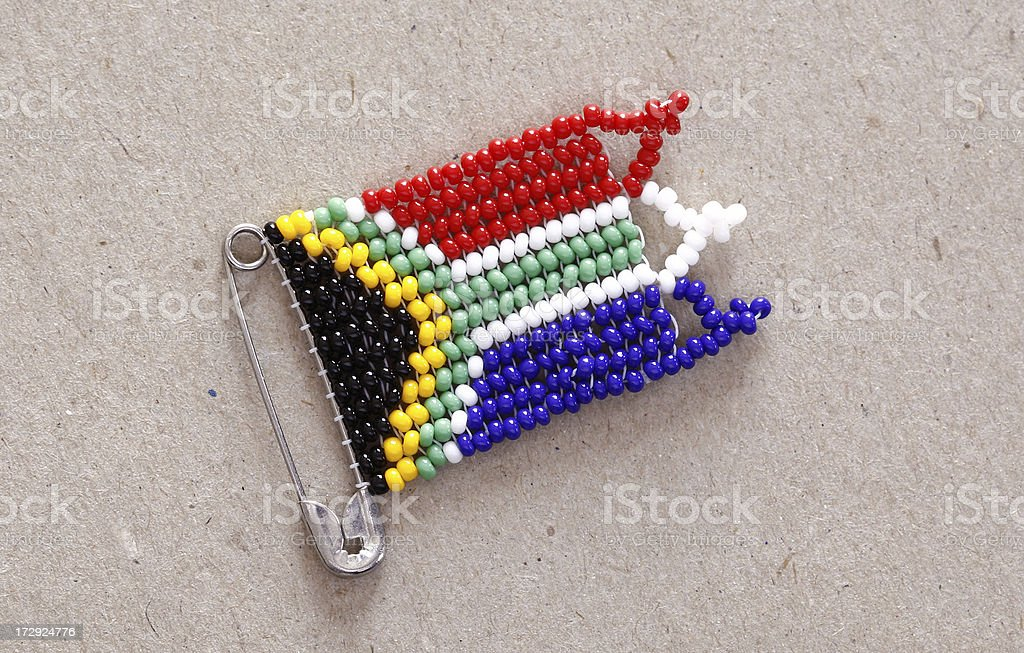 South African flag safety pin royalty-free stock photo