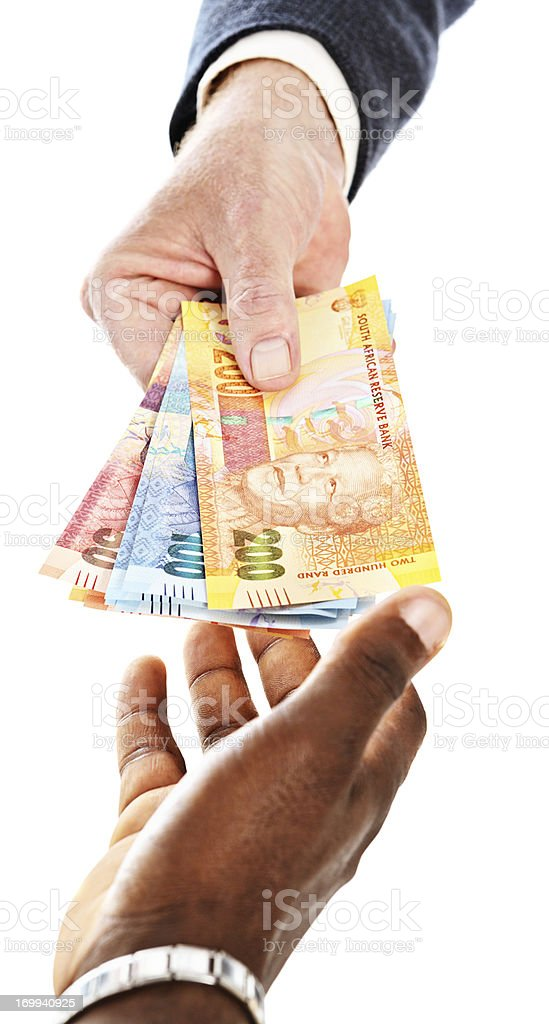South African Mandela banknotes being passed to male hand stock photo