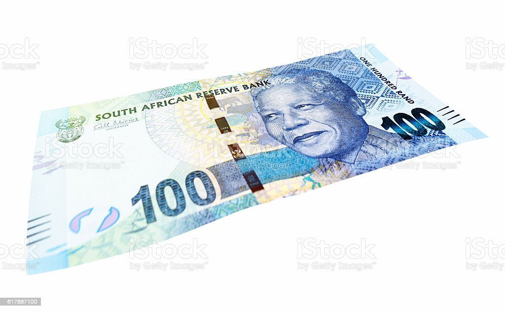 South African One Hundred Rand banknote isolated on white stock photo