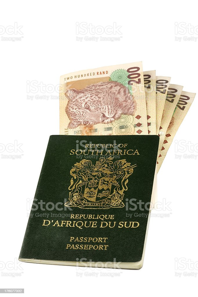 South African passport with rands stock photo