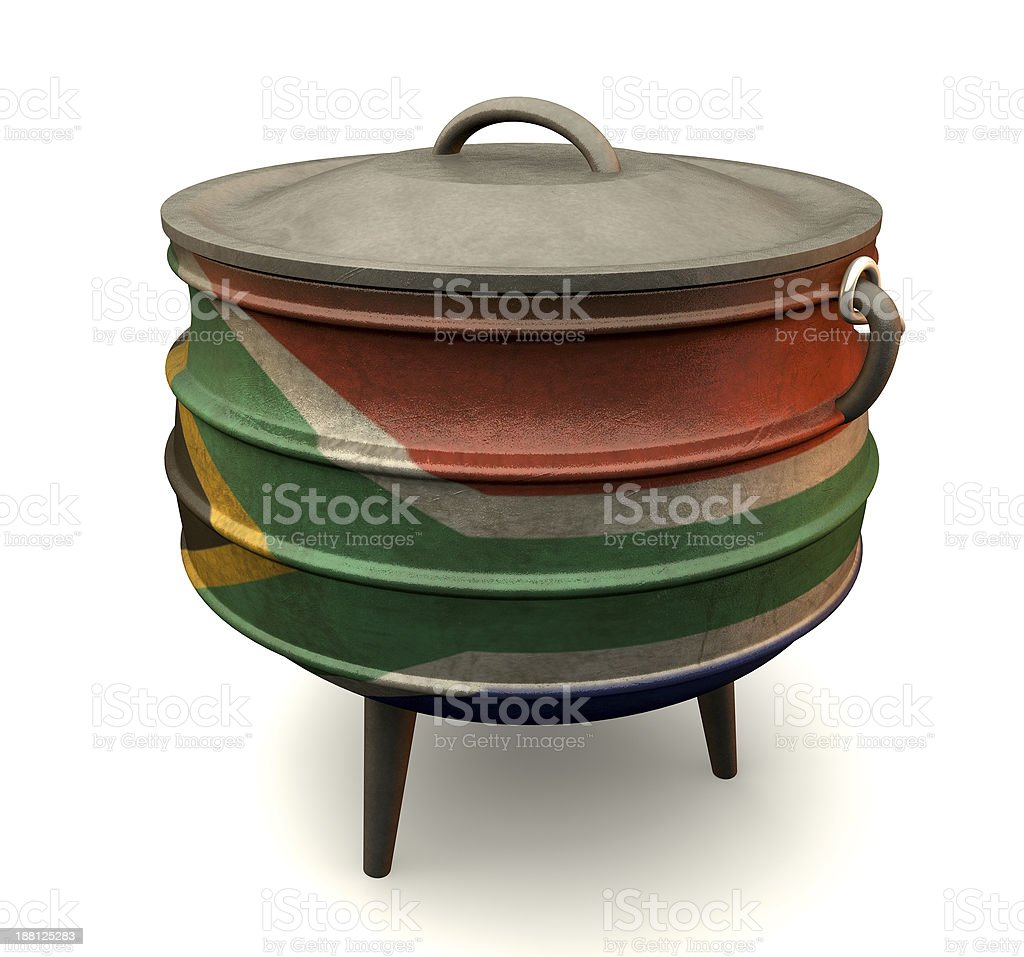 South African Potjie Pot Painted Flag stock photo