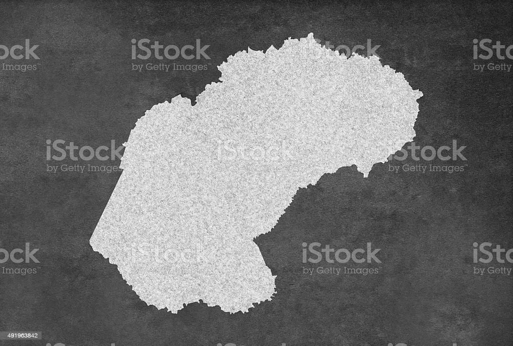 South African Province of Free State Map Outline on Blackboard stock photo