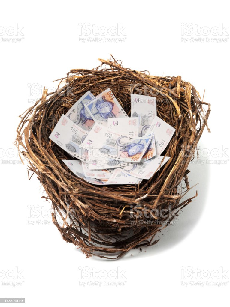 South African Rand in a Bird's Nest royalty-free stock photo