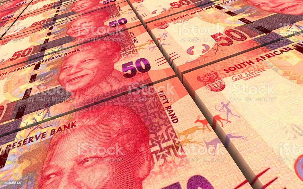 South african rands bills stacks background. stock photo