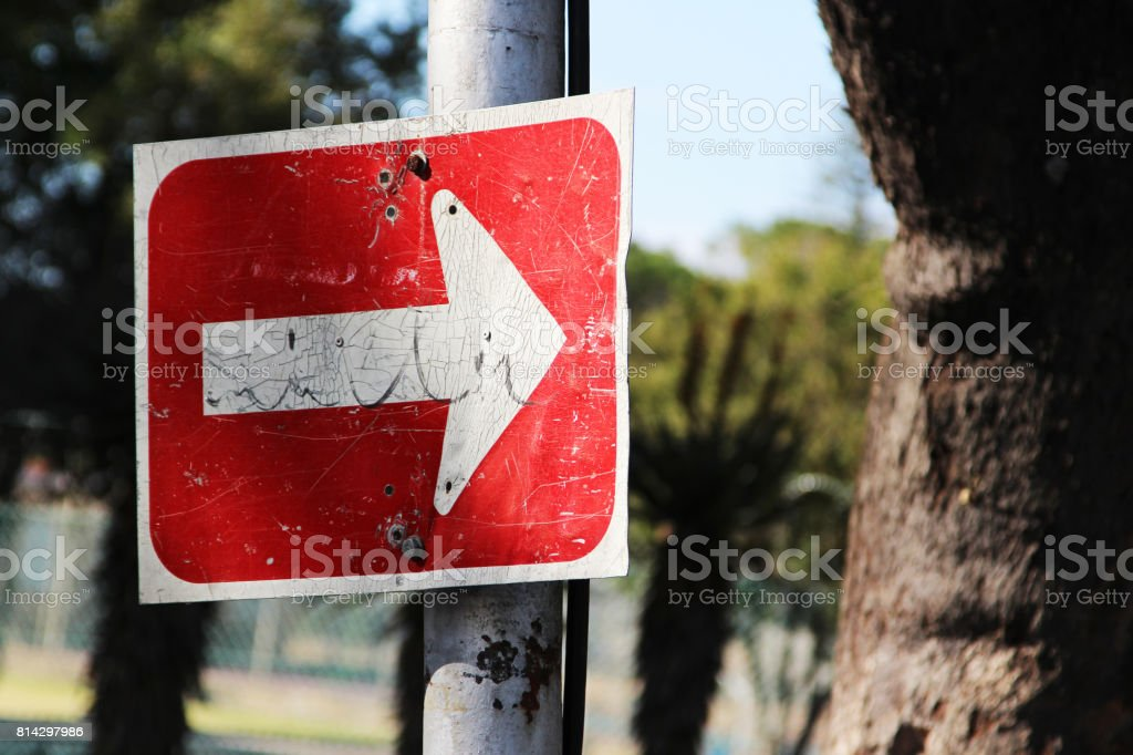 A South African road sign(one way only) attached to a steel pole. stock photo