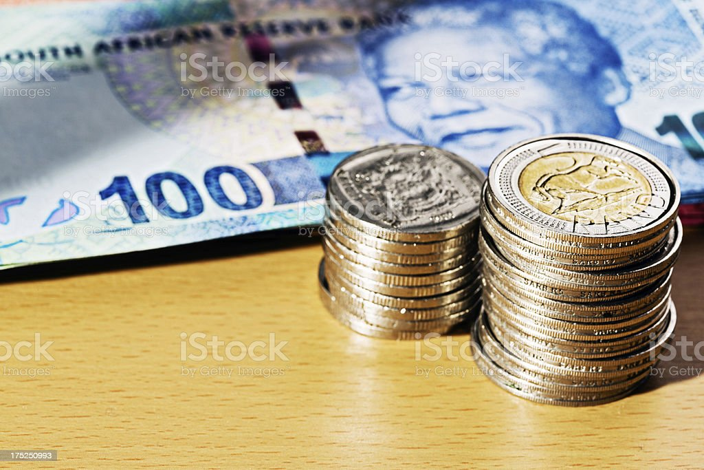 South African silver coinage with new One Hundred Rand banknote stock photo