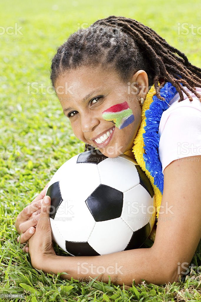 south african soccer fan royalty-free stock photo