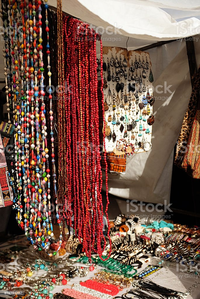 South African street stall selling African beads and handmade jewellery stock photo