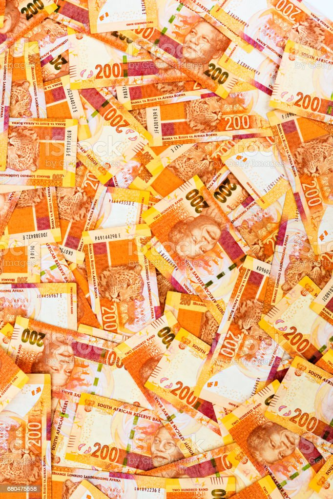 South African Two Hundred Rand notes in abundance for background stock photo