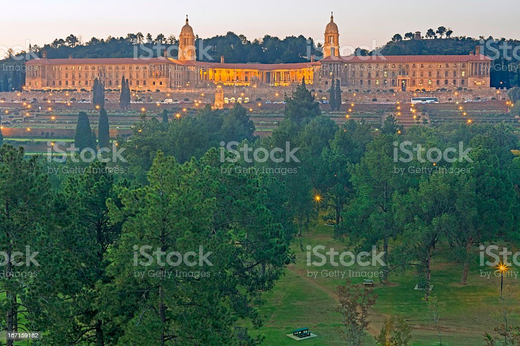 South African Union Buildings in the Evening stock photo