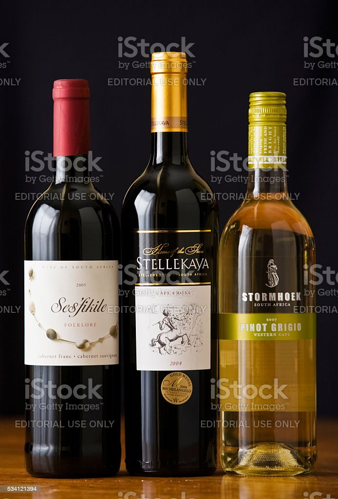 South African wine bottles: blended red and pinot grigio stock photo