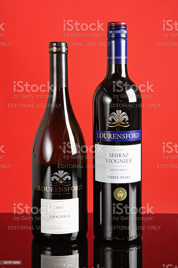 South African wine, Viognier, Shiraz, Lourensford, red, stock photo
