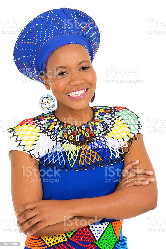 south african woman with arms crossed stock photo