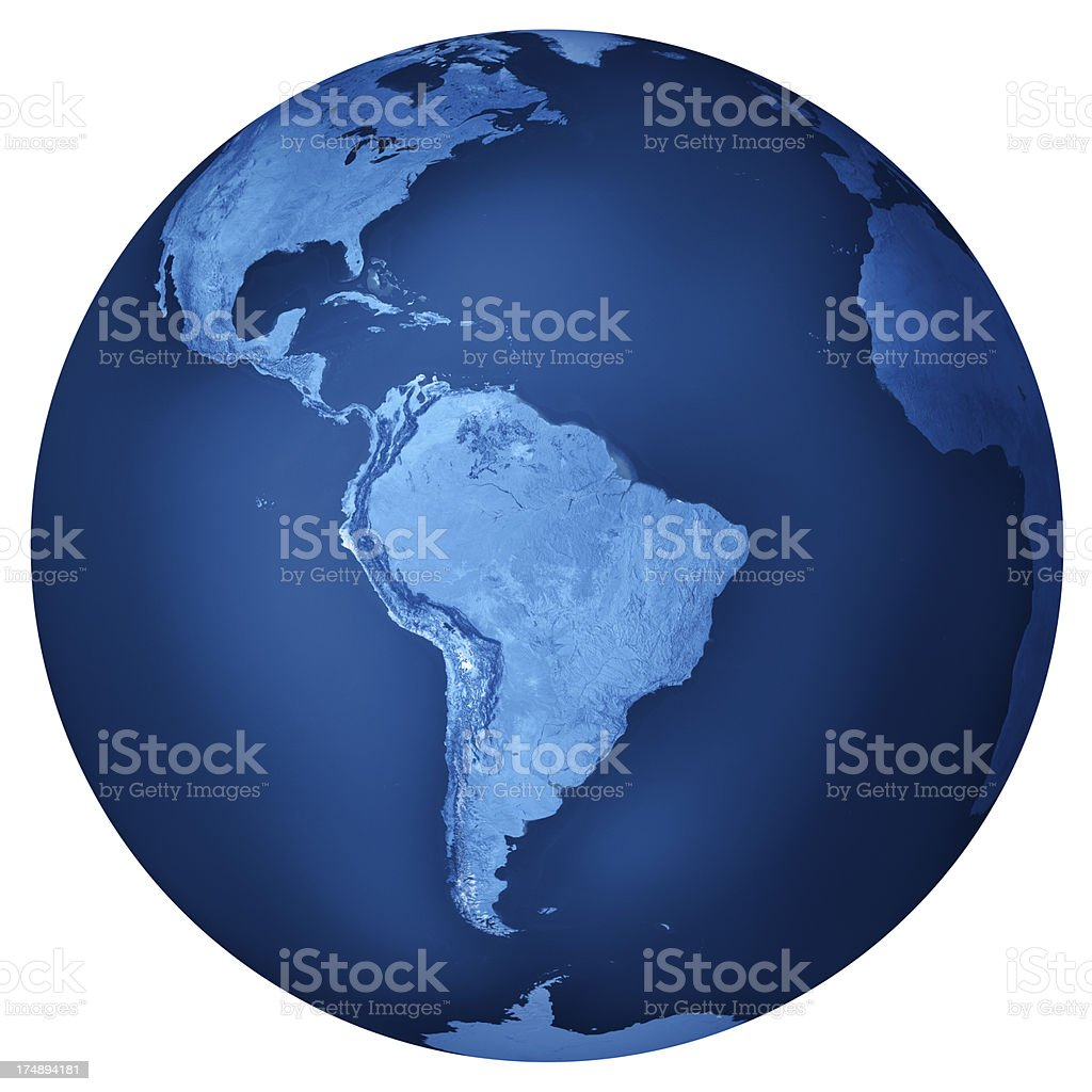 South America Blue Planet Earth Isolated royalty-free stock photo