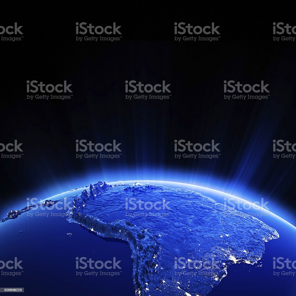 South America city lights at night stock photo