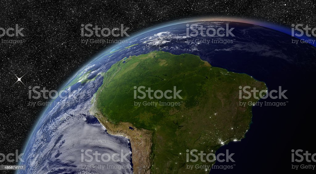 South America from space stock photo