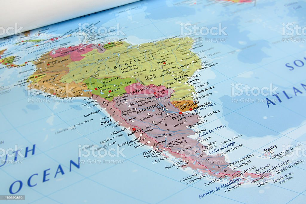 South America geographical view stock photo