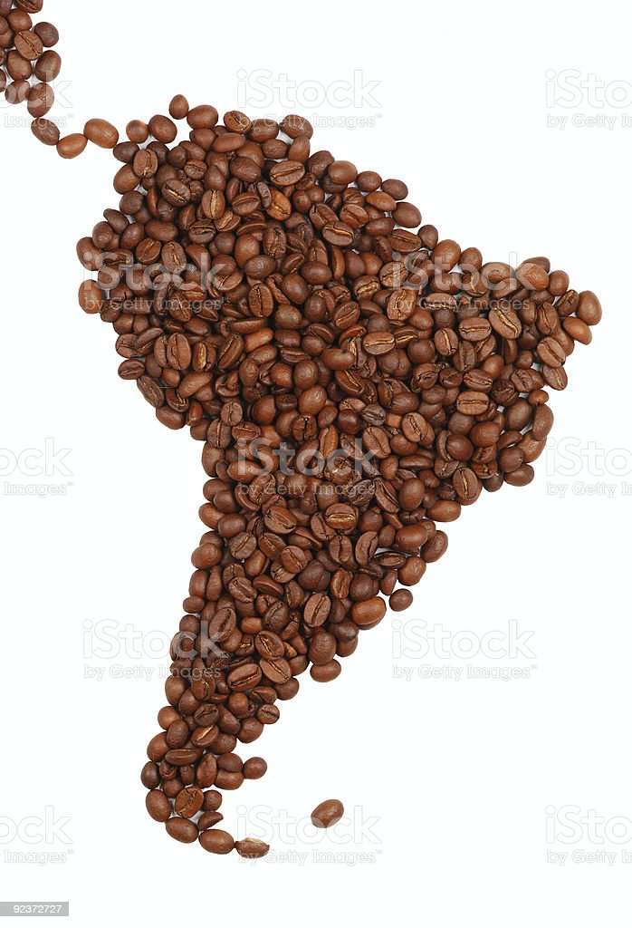 South America made with coffee royalty-free stock photo