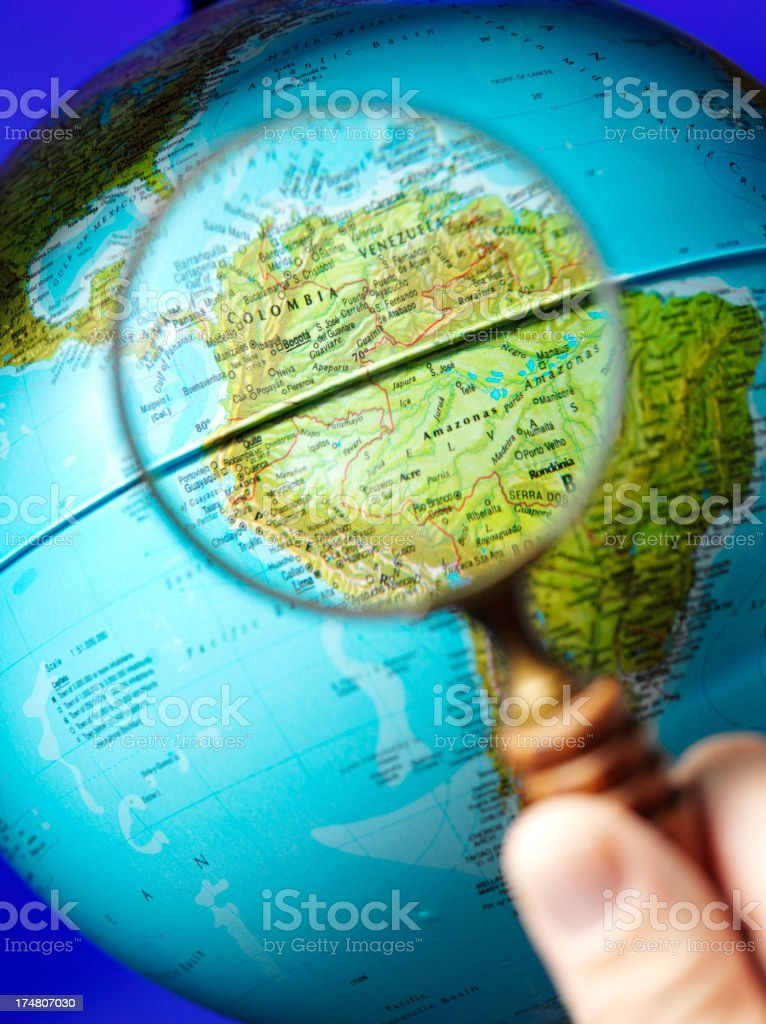 South America Magnified on a Globe royalty-free stock photo