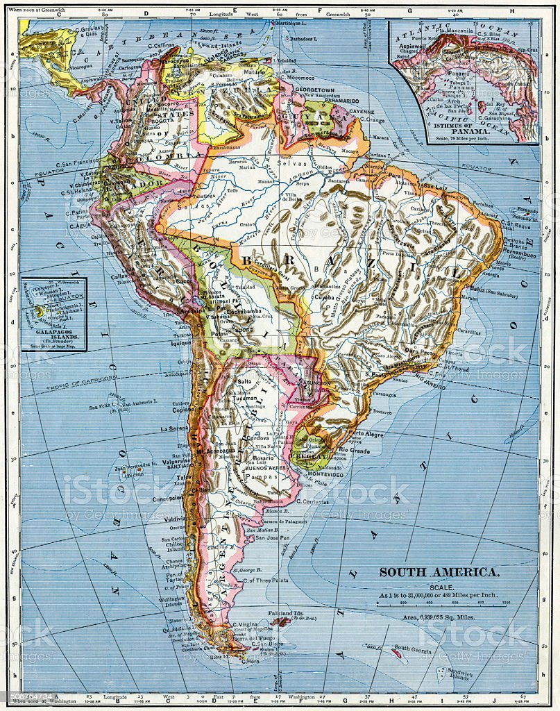 South America Map 1883 stock photo