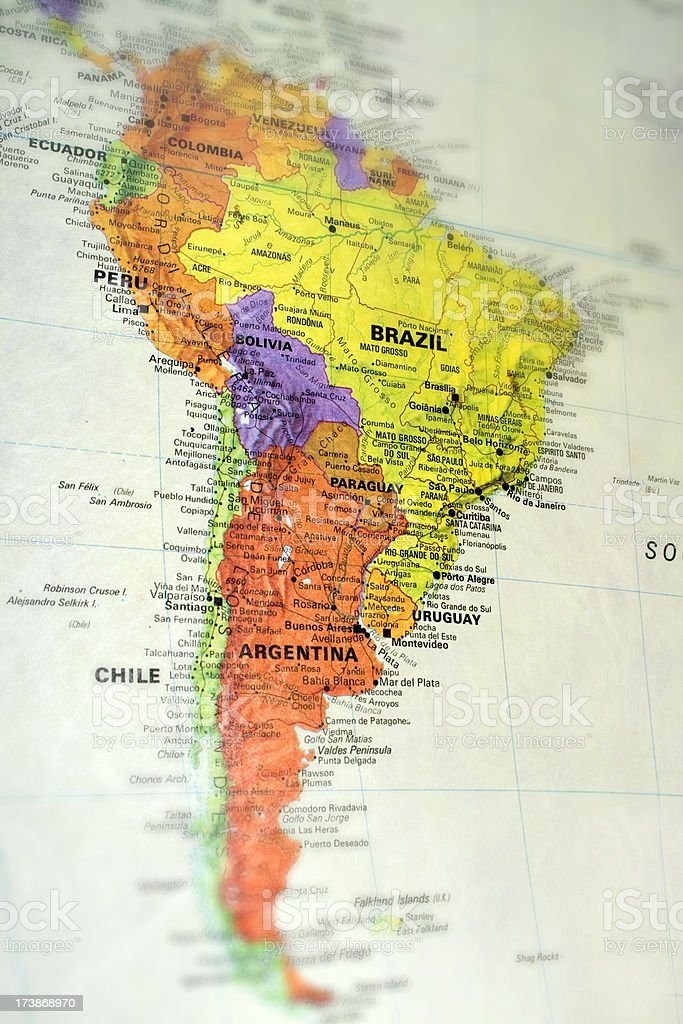 South America Map stock photo