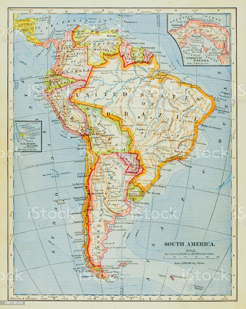 1883 South America Map stock photo