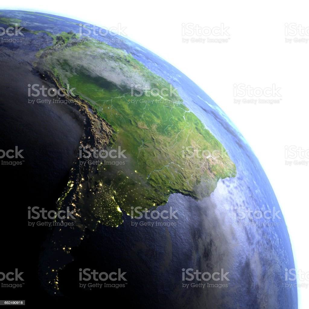 South America on realistic model of Earth stock photo