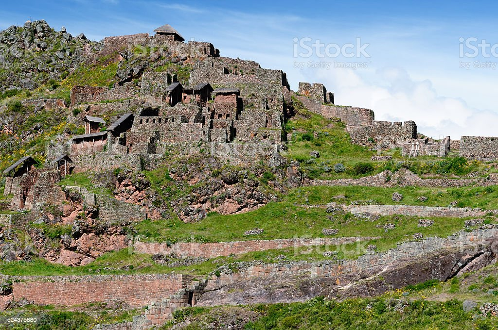 South America, Pisaq Inca ruins, Peru, Sacred Valley, stock photo