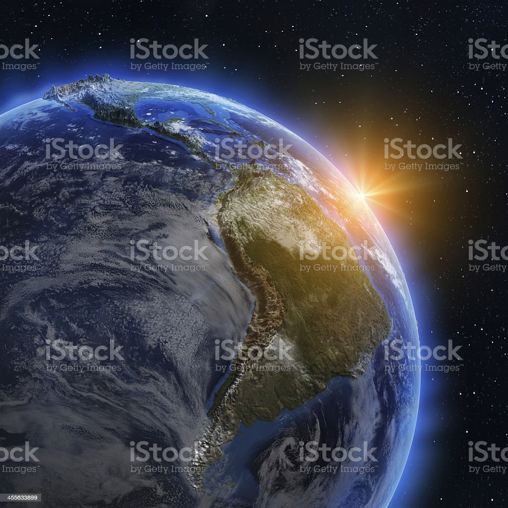 South America sunrise stock photo