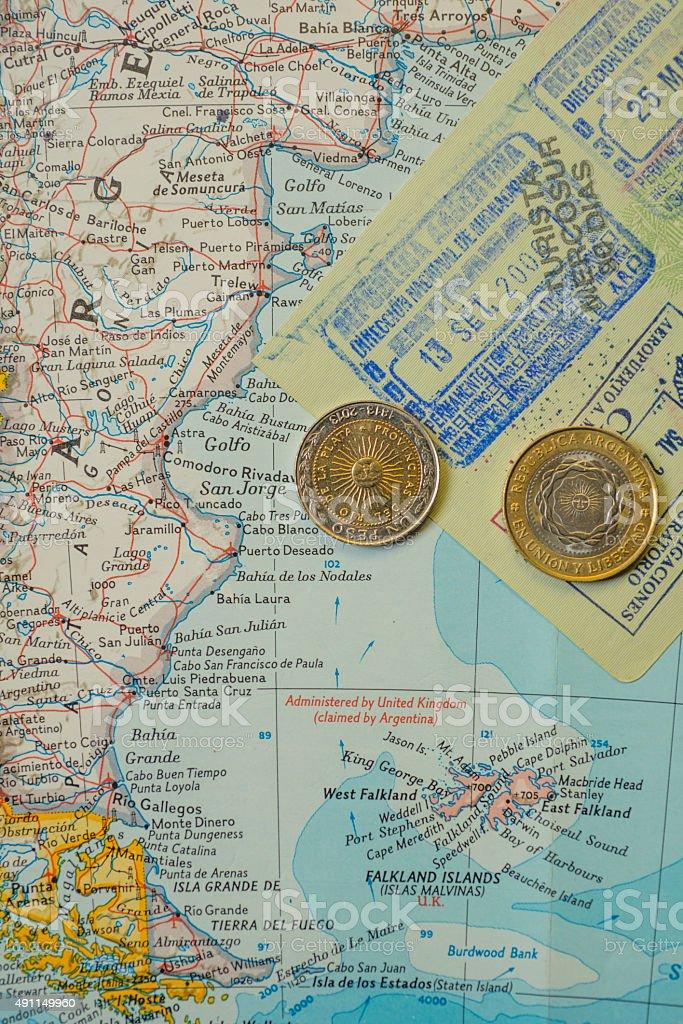 South America traveler map stock photo