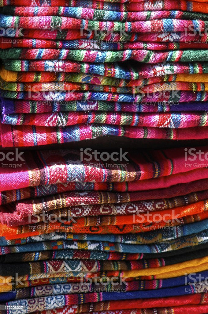 South American Blankets Stacked in Bolivian Market La Paz royalty-free stock photo