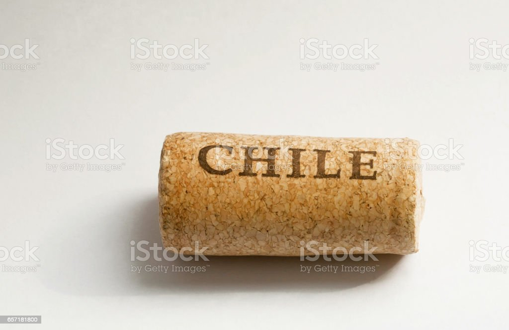 South American country Chile's name on wine cork. stock photo