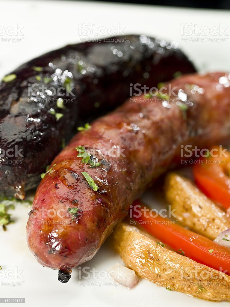 South American Grilled Chorizo and Morcilla stock photo