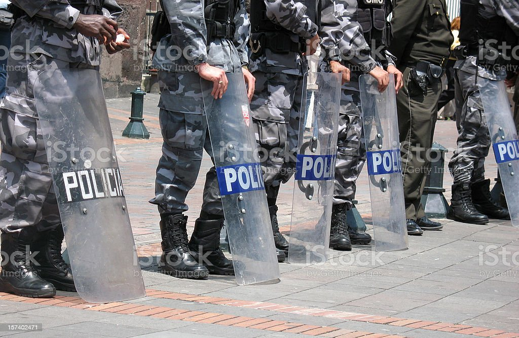 South American riot police stock photo