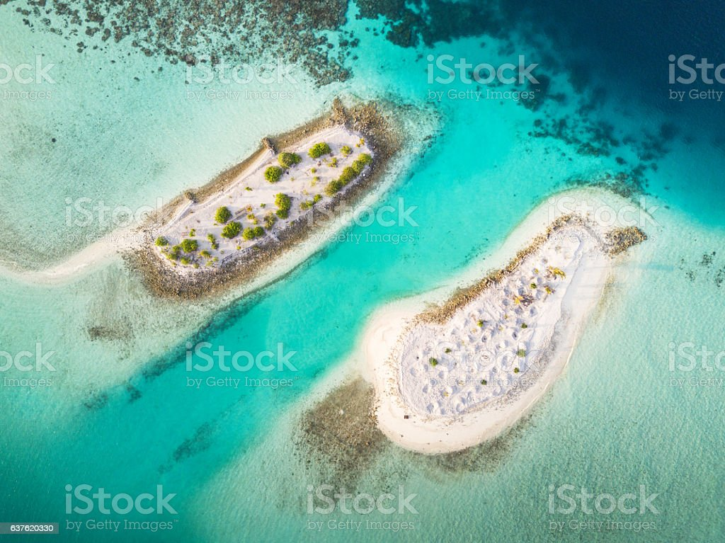 South Ari Atoll Maldives Islets Aerial View stock photo