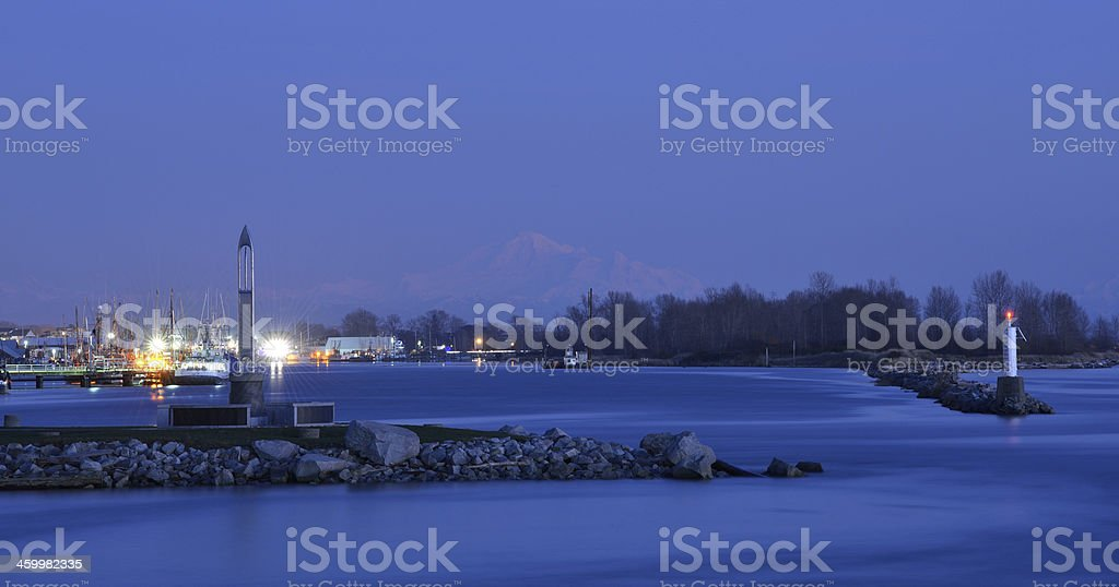 South Arm of the Fraser River at sunset stock photo