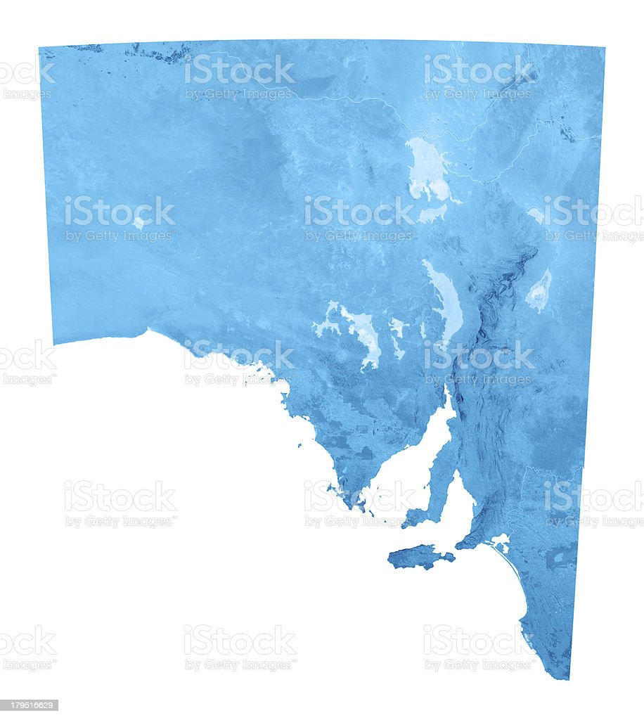 South Australia Topographic Map Isolated stock photo