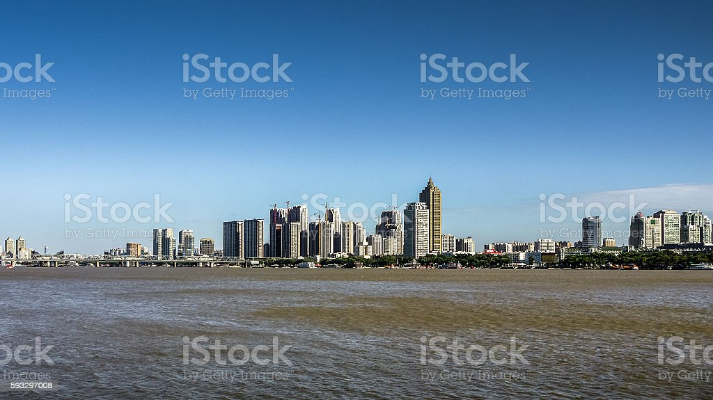 south bank daytime skyline over Songhua River, Harbin stock photo