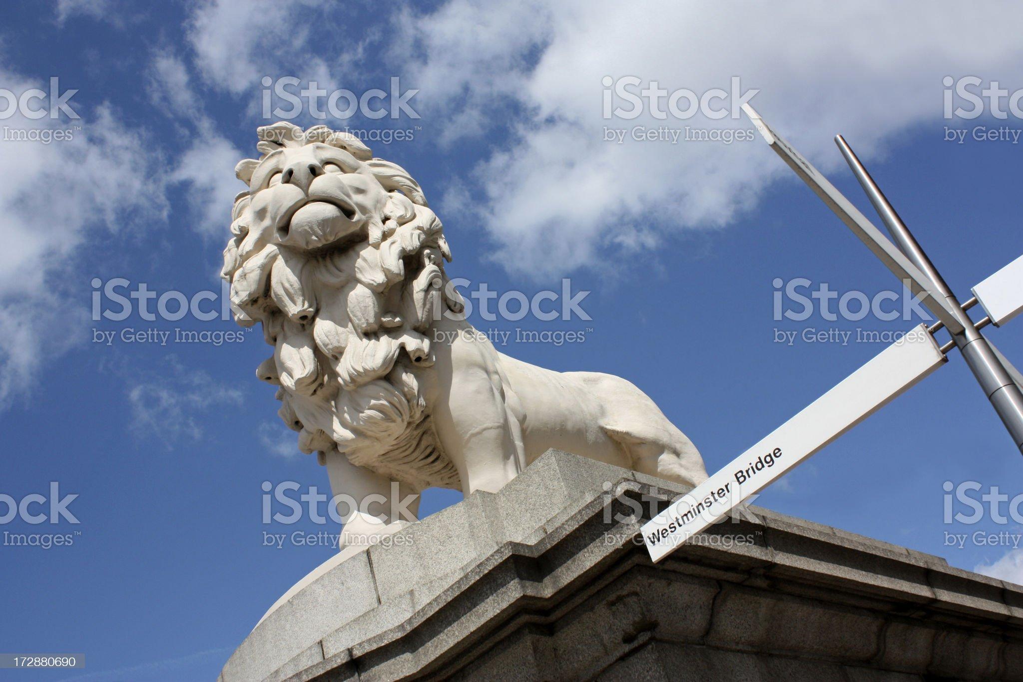 South Bank Lion along Westminster Bridge royalty-free stock photo