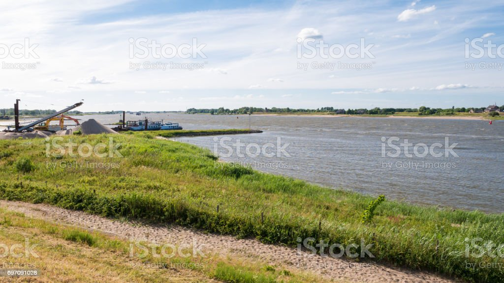 South bank of Waal river near Zuilichem, Bommelerwaard, Netherlands stock photo