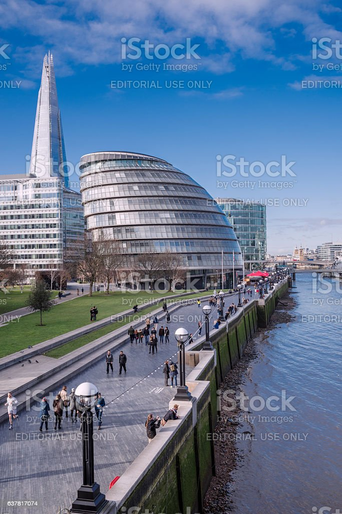 South Bank with City Hall and The Shard in London stock photo