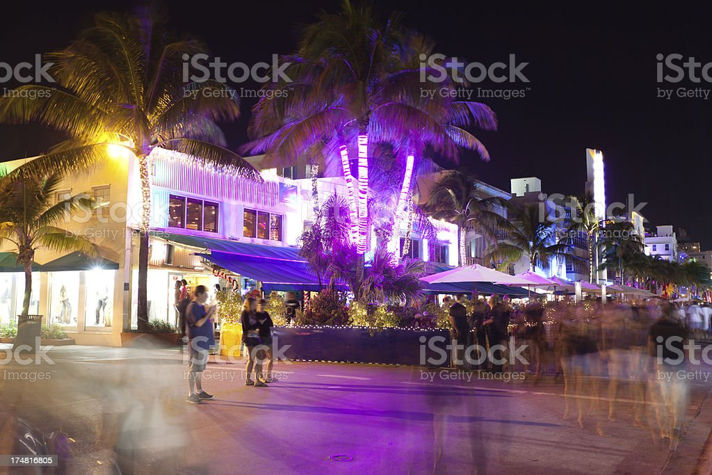 South Beach Entertainment Distric Night Scene stock photo