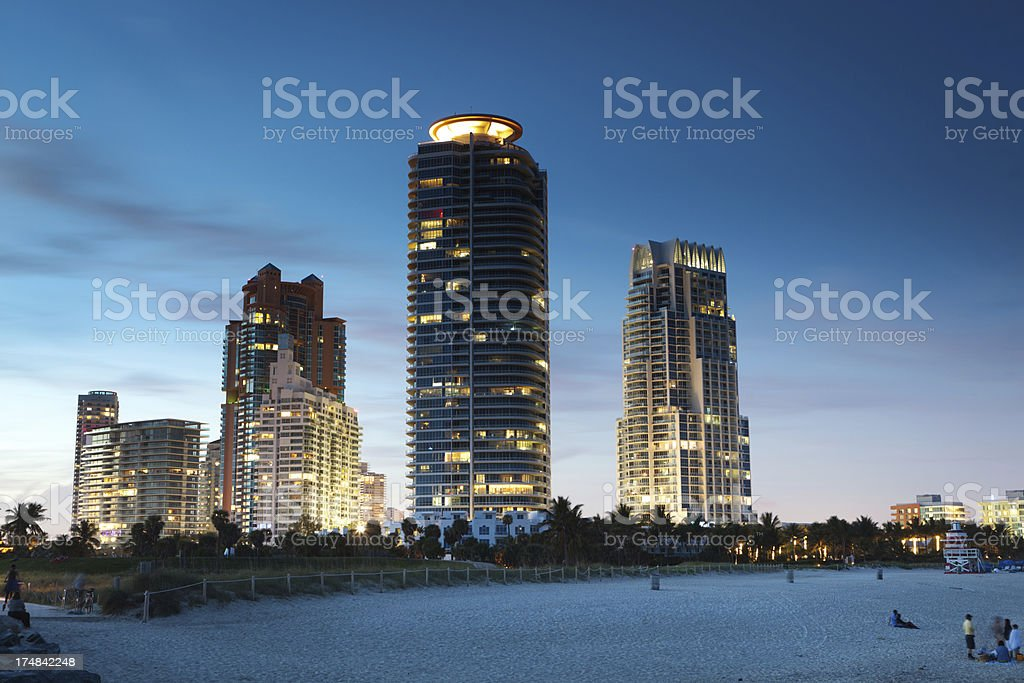 South Beach Evening in Miami Florida royalty-free stock photo