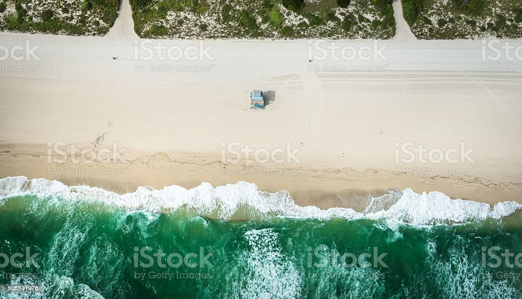 south beach from the air - miami stock photo