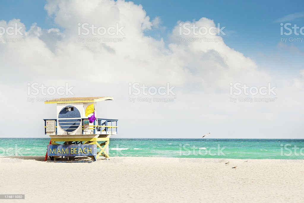 South Beach, Miami, Florida Lifeguard Hut Awaiting Spring Break Travel stock photo