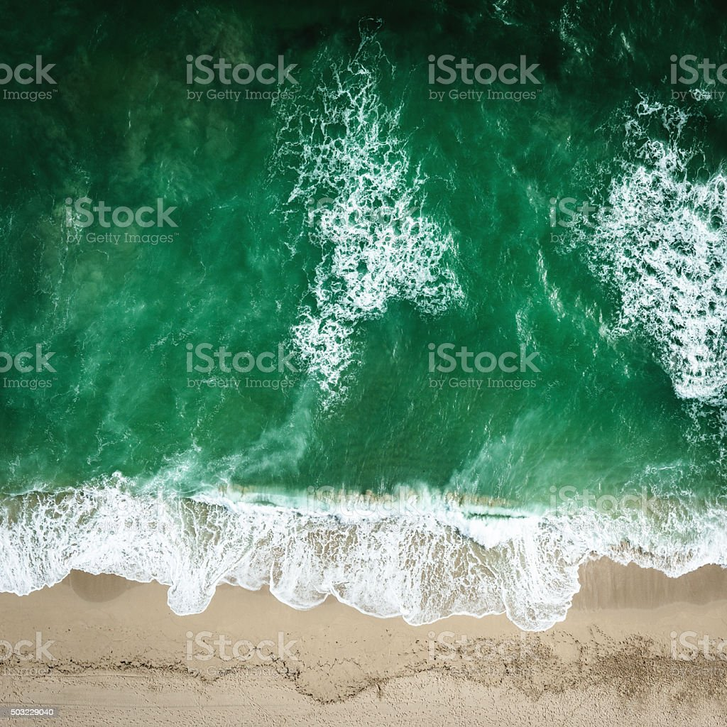 South beach miami seaside aerial view stock photo