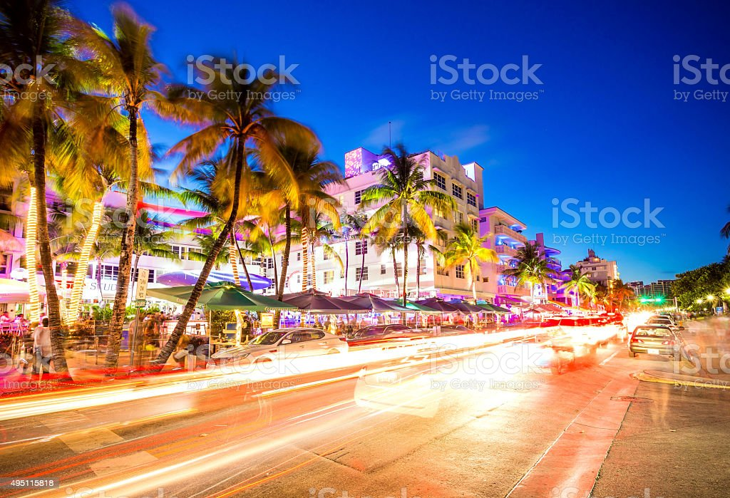 South Beach night life at Ocean Drive, Miami, USA stock photo